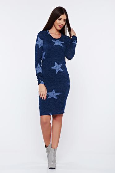 Rochie PrettyGirl mov albastra tip creion tricotata cu print