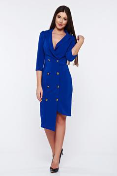 Rochie Artista albastra eleganta petrecuta accesorizata cu nasturi