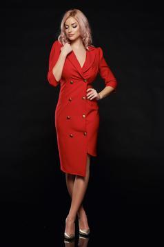 Rochie Artista rosie eleganta petrecuta accesorizata cu nasturi