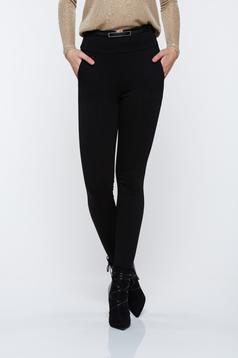 Pantaloni Top Secret negri basic cu talie inalta conici cu buzunare