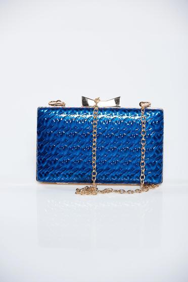 Geanta dama albastra de ocazie cu accesoriu metalic cu aspect metalic