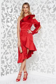 Rochie Ana Radu rosie de lux asimetrica din material satinat cu maneci decupate