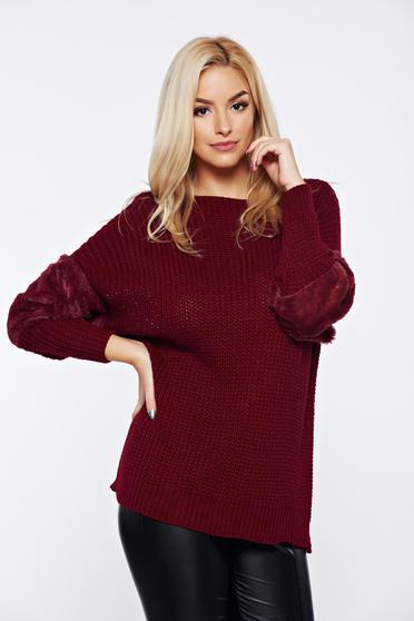 Pulover visiniu casual tricotat cu maneca lunga cu insertii cu blana ecologica