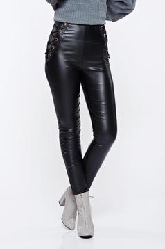 Pantaloni negri casual conici cu talie inalta din piele ecologica