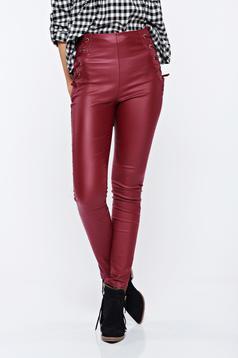 Pantaloni visinii casual conici cu talie inalta din piele ecologica