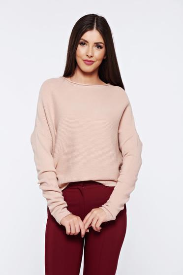 Pulover rosa casual tricotat cu croi larg din material raiat