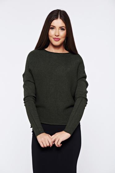 Pulover verde-inchis casual tricotat cu croi larg din material raiat
