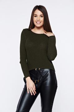 Pulover verde-inchis casual tricotat asimetric cu croi larg