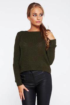 Pulover khaki casual tricotat asimetric cu croi larg