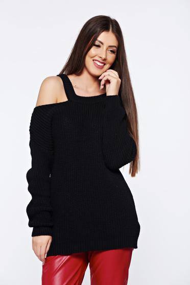 Pulover negru casual tricotat cu croi larg cu umeri decupati