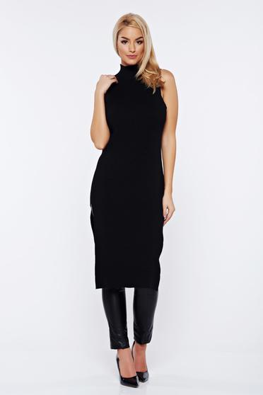 Rochie neagra casual pe gat tricotata cu un croi mulat