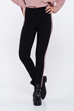 Pantaloni casual conici cu talie inalta cu dungi verticale roz deschis