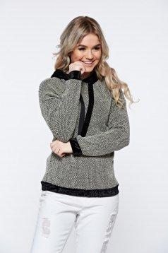 Hanorac negru casual tricotat cu gluga nedetasabila cu aplicatii de catifea