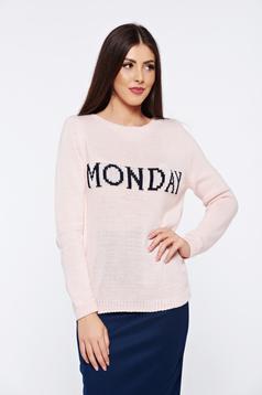 Pulover rosa casual tricotat cu mesaje cu croi larg