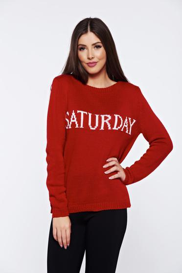 Pulover rosu casual tricotat cu mesaje cu croi larg