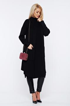 Cardigan negru tricotat asimetric cu croi larg