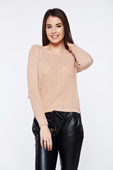 Pulover rosa casual tricotat asimetric cu croi larg