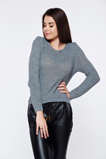 Pulover gri casual tricotat asimetric cu croi larg