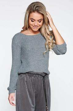 Pulover gri casual cu croi larg asimetric din material tricotat