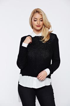Pulover negru casual tricotat asimetric cu croi larg