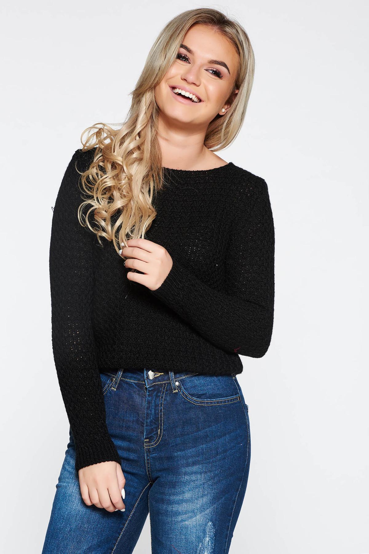 Pulover negru casual cu croi larg asimetric din material tricotat