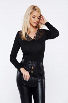 Bluza dama neagra casual eleganta mulata cu aplicatii de dantela