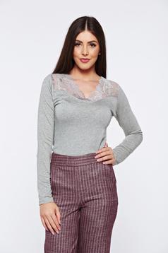 Bluza dama gri casual eleganta mulata cu aplicatii de dantela