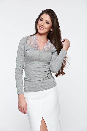 Bluza dama gri eleganta mulata cu aplicatii de dantela