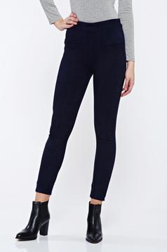 Pantaloni nergi casual conici din velur cu talie inalta