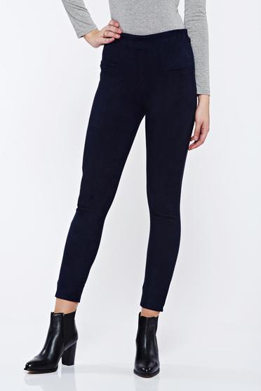 Pantaloni albastri-inchis casual conici din velur cu talie inalta