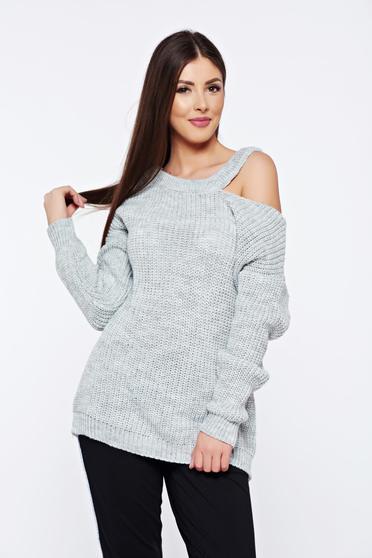 Pulover gri casual tricotat cu croi larg cu umeri decupati