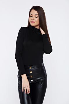 Bluza dama neagra casual pe gat mulata cu maneca lunga
