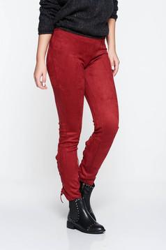 Pantaloni visinii casual conici din velur cu talie joasa accesorizati cu snur