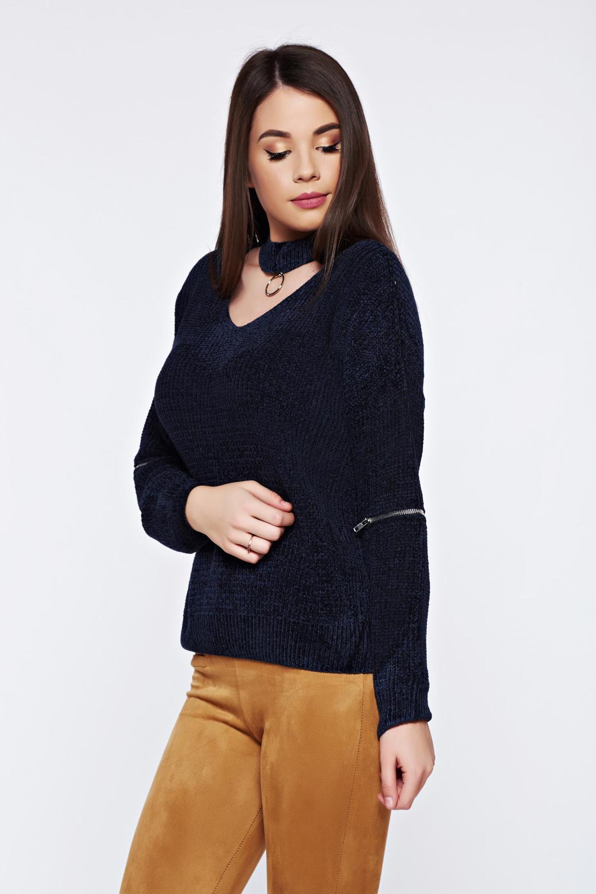 Pulover albastru casual tricotat din catifea cu croi larg