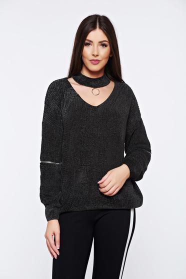 Pulover khaki casual tricotat din catifea cu croi larg
