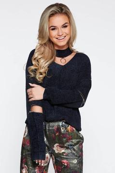 Pulover negru casual tricotat din catifea cu croi larg