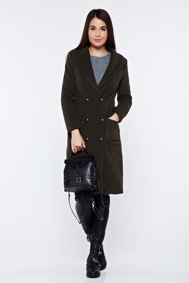 Palton LaDonna verde-inchis casual din lana cu buzunare captusit pe interior