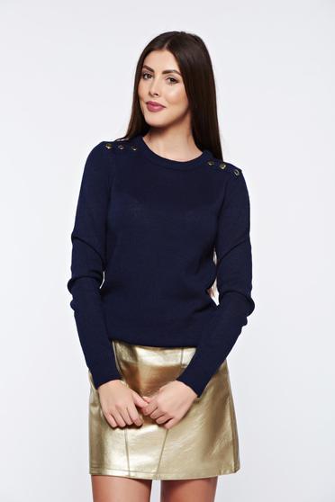 poze cu Pulover Top Secret albastru-inchis casual tricotat cu aplicatii metalice
