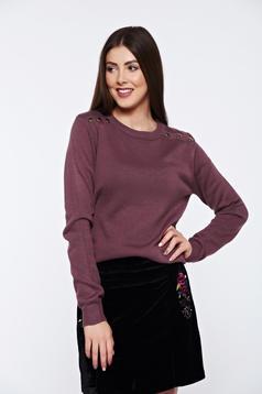 Pulover Top Secret mov casual tricotat cu aplicatii metalice