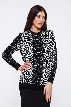 Pulover StarShinerS negru casual tricotat cu imprimeu grafic