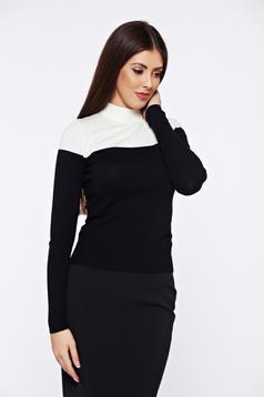 Pulover StarShinerS negru casual tricotat mulat