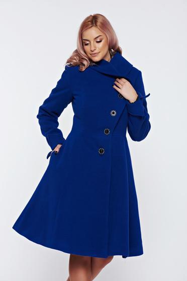 Palton Artista albastru din lana cu buzunare captusit pe interior
