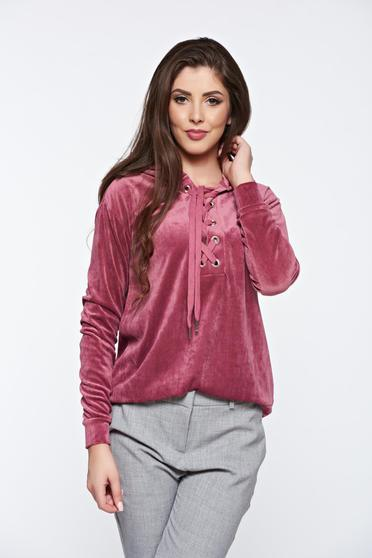 Bluza dama rosa Top Secret casual cu croi larg