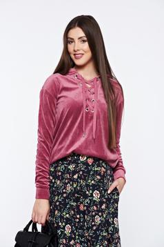 Bluza dama Top Secret rosa casual cu croi larg din catifea