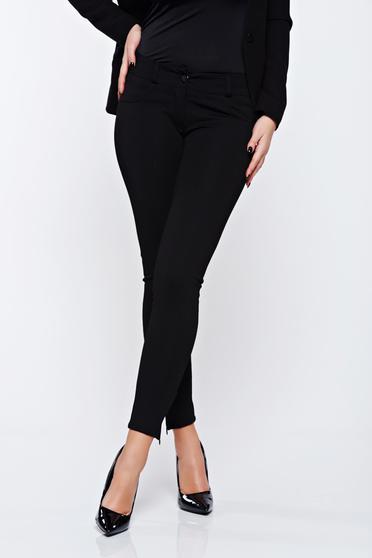 Pantaloni Artista negri office conici accesorizati cu fermoar