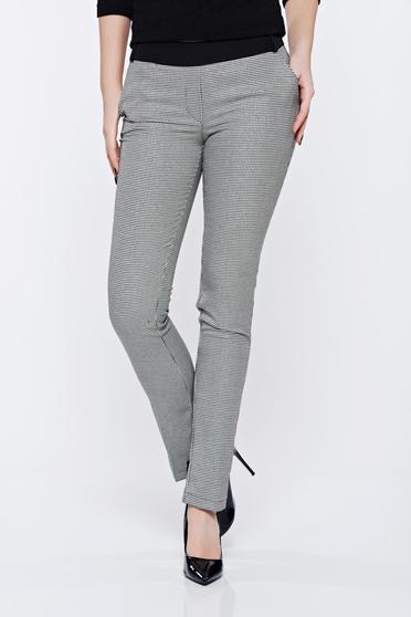 Pantaloni Fofy negri cu print office cu talie medie