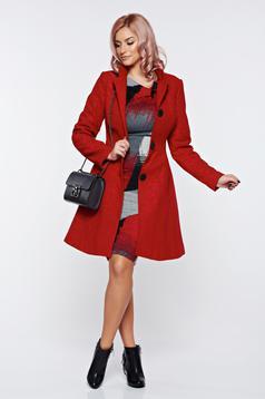 Palton Artista rosu elegant din stofa neelastica captusit pe interior