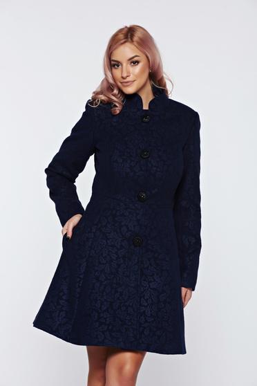 Palton Artista albastru-inchis elegant din stofa neelastica captusit pe interior