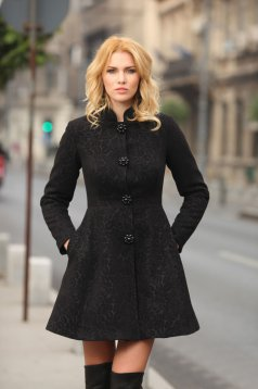 Palton Artista negru elegant din stofa neelastica captusit pe interior