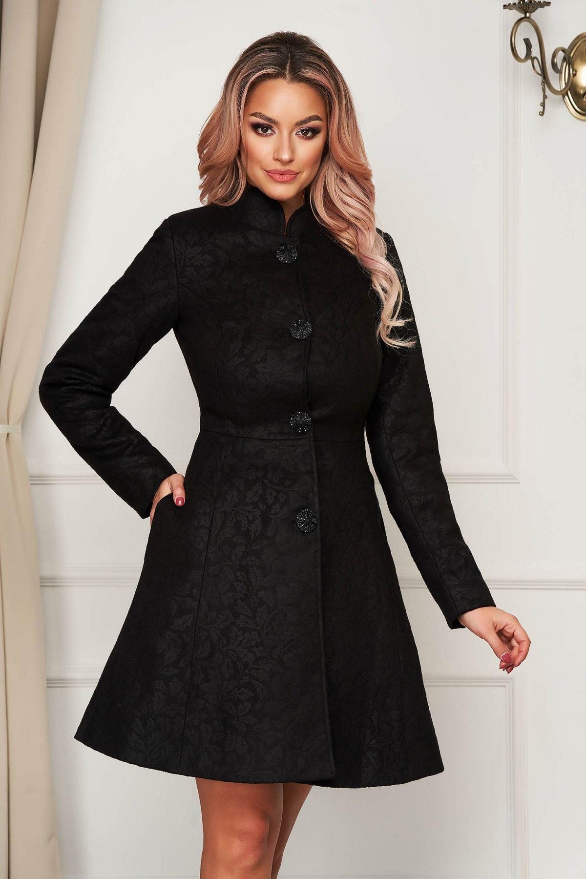 Palton Artista negru elegant scurt in clos din stofa neelastica cu umerii buretati captusit pe interior imagine